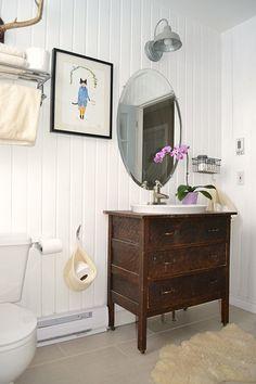 Wainscoting floor to ceiling; repurposed dresser into vanity, neutral coloured flooring. Bathroom Vanity Units, Rustic Bathroom Vanities, Laundry In Bathroom, Bathroom Furniture, Bathroom Sinks, Downstairs Bathroom, Bathroom Cabinets, Boho Bathroom, Vintage Bathrooms