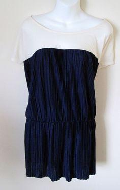 NEW Merona Plus Sz 3 Dressy Top Color Block Navy Cream Cap Sleeve Elastic Waist #Merona #KnitTop #Career