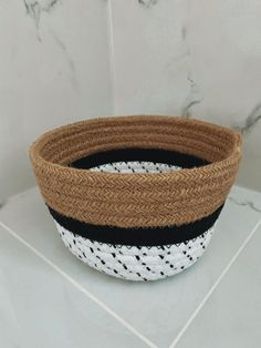 Cotton Jute Planter Basket - H x Diam - Brown with black and white - Made from Jute Rope Plant Basket, Jute, Decorative Bowls, Craft Supplies, Planters, Etsy Shop, Black And White, Brown, Cotton