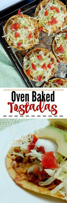 Oven Baked Tostadas…a simple, fun family meal! Crunchy tostadas are layered with ground beef, refried beans and cheese and then topped with all the toppings! Mexican Dishes, Mexican Food Recipes, Beef Recipes, Cooking Recipes, Recipies, Eat Breakfast, Breakfast Casserole, Breakfast Recipes, Breakfast Burritos