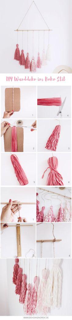 DIY Wanddeko im Boho Stil selber machen. Wandbehang. DIY Deko - Wallhanging with Tassels