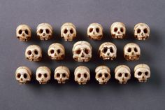 Collection of Eighteen German 'Memento Mori' Carved Ivory Human Skulls