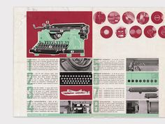 Studio Boggeri: Brochure for the typewriter by Olivetti Olivetti Typewriter, Cool Typography, Old Master, Old Things, Layout, Graphic Design, Masters, Nova, Typewriters