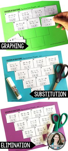 Systems of Equations Pyramid Sum Puzzles (3 versions - graphing, substitution, elimination)