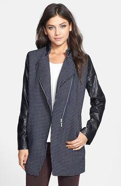 Faux Leather Sleeve Tweed Coat