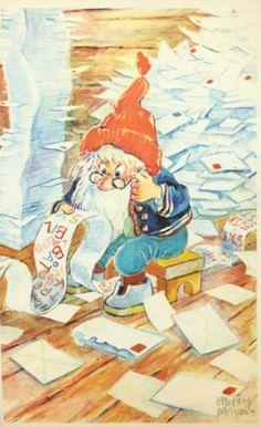 Julekort Elbjørg Øien Moum Utg Mittet brukt 1960-tallet