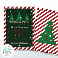 Personalized Christmas Trees Party Invitations on Zazzle