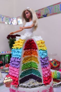 Rainbow Barbie Cake This cake was made with a rainbow surprise inside Barbie Birthday Cake, Barbie Theme, Barbie Party, Birthday Cake Girls, 5th Birthday, Birthday Cakes, Birthday Ideas, Bolo Barbie, Barbie Cake