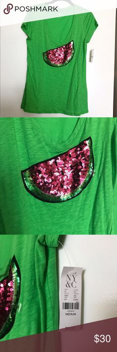 NY & Company Watermelon Sequin Tee Brand new with tags! Green V-neck short sleeved tee with sequined watermelon on the front. New York & Company Tops Tees - Short Sleeve