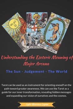 In this article, we will examine the cards XIX-XXI. The Sun, Judgement, and The World. The World Tarot, Tarot Cards Major Arcana, Tarot Meanings, New Beginnings, The Magicians, Meant To Be, Messages, Lettering, Sun