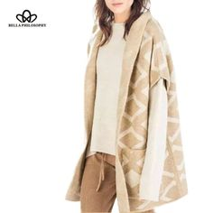 European and American new winter spring yarn camel color Geometric jacquard knit sweater loose hooded cardigan jacket