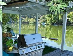Lake Dock - eclectic - spaces - los angeles - Shannon Ggem ASID- Ggem Design Co LLC Lake Dock, Boat Dock, Lakeside Living, Outdoor Living, Haus Am See, Make A Boat, Lakefront Property, Boat Lift, Lake Cabins