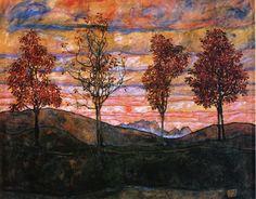 Four Trees, 1917 by Egon Schiele. Art Nouveau (Modern). landscape. Österreichische Galerie Belvedere, Vienna, Austria