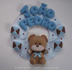 Enfeite Porta Maternidade Azul e Marrom