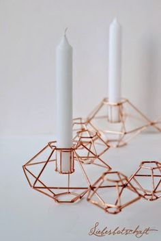 Copper candle holders.