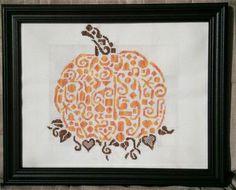 Tribal Pumpkin Monochrome Cross Stitch - White Willow Stitching Cross Stitch - (Powered by CubeCart)