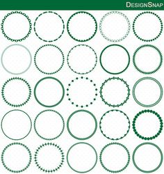 Dark Green Circle Frames, Circle Frame Clip Art, Round Frame Clip Art.  Small commercial and Personal use OK.