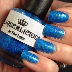 """Laquerlicious """"At The Lake"""", neon glitter nail polish, indie nail polish"""