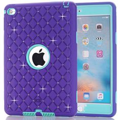 For Apple ipad Mini 4 Case Luxury Shockproof Heavy Duty Silicone Hard Covers for Kids Girls 3 In 1 Protective Stand Cases