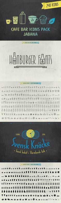 Cafe Bar Icons Pack - Jabana. Fonts. $15.00