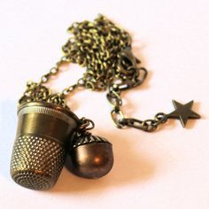 Peter Pan and Wendy Thimble and Acorn Kisses Necklace Second Star Right by HooliganAlley on Etsy