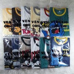 Kaos anak branded dengan kuwalitas premium dan motif lucu-lucu kini dijual murah dengan cara grosir harga Rp.22.000