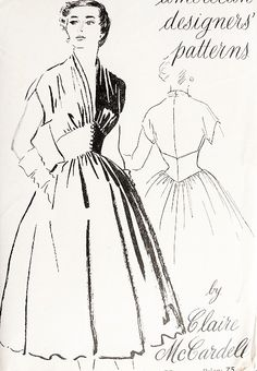 1950s RARE Claire McCardell Cocktail Party Dress Pattern SPADEA American Designers 701 Corset Waist, Full Bouffant Skirt Draped Bodice Bust 32 Vintage Sewing Pattern
