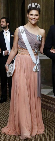 Crown Princess Victoria attends first official dinner of the year at the Royal Palace on February 11, 2015.