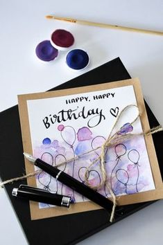 Cretacolor Kalligrafie Set & selbstgemachte Geburtstagskarte DIY birthday card with watercolor paints. Diy Birthday Card, Creative Birthday Cards, Homemade Birthday Cards, Birthday Cards For Friends, Bday Cards, Diy Gifts For Friends, Happy Birthday Cards, Homemade Cards, Birthday Ideas