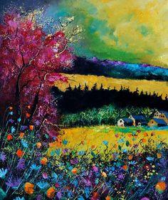 """Saatchi Online Artist: Pol Ledent; Oil, 2012, Painting """"autumn landscape 67ml"""""""