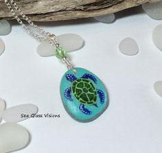Sea Turtle Sea Glass Pendant Beach Glass by SeaGlassVisions