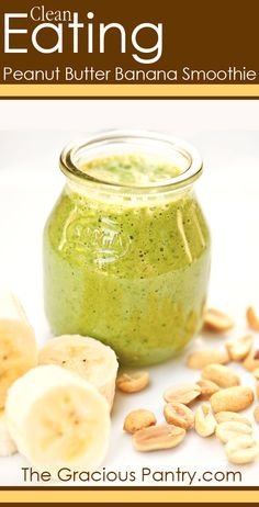 BANANA GREEN SMOOTHIE: Been having one as a meal replacement. Usually dinner. Lost 12 pounds in 6 weeks. My version is 1/2 cup coconut water, big handful of organic baby spinach leaves, teaspoon of almond butter and two very ripe bananas. At Safeway you can buy the extra ripened bananas for less in little paper bags. You actually get more nutrients - easier to digest - sweeter. The version in this Pin is different: almond milk, spinach, banana, peanut butter, vanilla extract