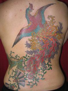 背中,抜き,鳳凰,蝶,扇子のタトゥーデザイン|タトゥーナビ