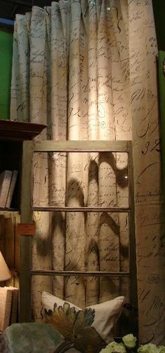 French Script Linen Curtains
