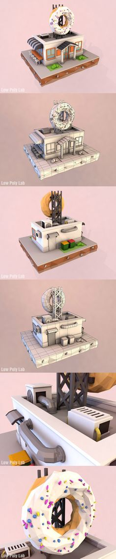 Cartoon Donut Cafe low poly 3D model. 3D Architecture