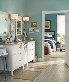 Strike a balanced coordinated look between your bedroom and bathroom with our paint color ideas & 678 best Bathroom Inspiration images on Pinterest | Bathrooms Bath ...