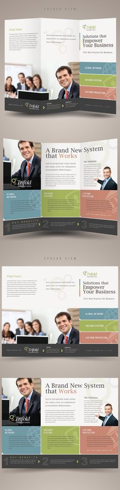 Corporate Trifold Brochure Template by Kinzi Wijaya, via Behance