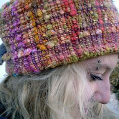 Handwoven Hat with Homespun Rainbow Silk. $39.00, via Etsy.