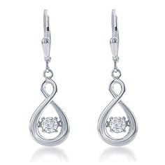 Sterling Silver Dancing CZ Twisted Teardrop Dangle Earrings >>> Check out the image by visiting the link.