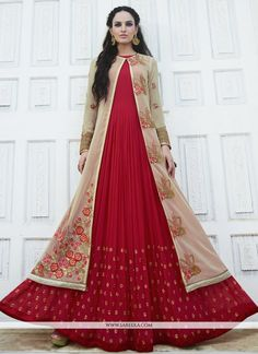 Real magnificence can come out from your dressing trend with this red faux georgette anarkali salwar kameez. The incredible dress creates a dramatic canvas with wonderful embroidered and resham work. ...