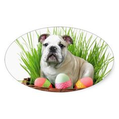Easter Bulldog Stickers  #easter #bulldog #bulldogs #gifts #stickers #dogs #dog #pet