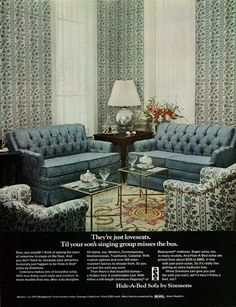 1969 Home Furnishings Ad, Simmons Hide-A-Bed Sofa Vintage Sofa, Vintage Furniture, Cool Furniture, Hidden Bed, Vintage Scrapbook, Living Area, Living Rooms, Life Magazine, Sofa Bed