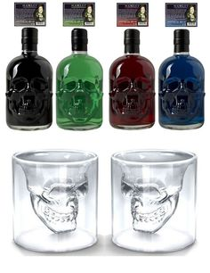 Get ready for a shot death! This Absinthe Set includes one bottle of Hamlet Hardcore Absinthe with 80% alcohol and an extra portion of wormwood plus two unique skull Absinthe glasses. They hold approx. 100ml, therefore they are big enough for one diluted Absinthe.