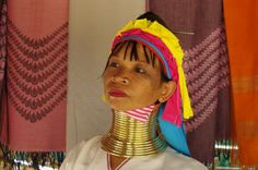 A woman from a long-neck hill tribe in Chiang Mai, Chiang Mai, Thailand.
