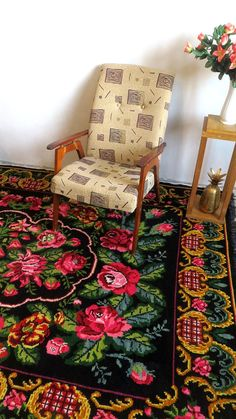 C TideTex Fashion Rural Style 2 Rose Flower Bedroom Rug Bedside Area Rug Hand Embroidery Cozy Small Livingroom Pretty Carpet Pink Red Rose Door Mats Foot Mat Bathroom Area Rug Mats