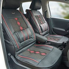 Urlifehall BLACK Universal Leather Car Seat Cover Cushion Back Support Waist Massage Read