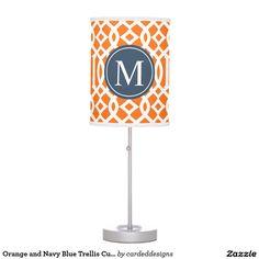 Orange and Navy Blue Trellis Custom Monogram Desk Lamp