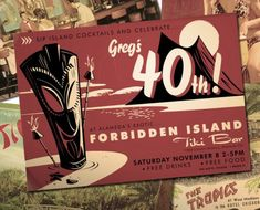 Tiki or Luau or Hawaiian party invitation. Includes décor ideas too.