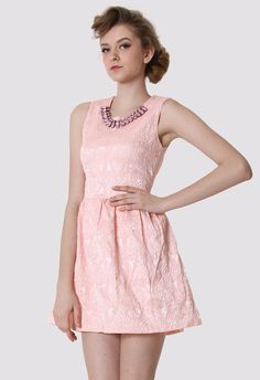 $65.90 Pink Bud Dress with Diamond Collar - Party - Dress - Retro, Indie and Unique Fashion