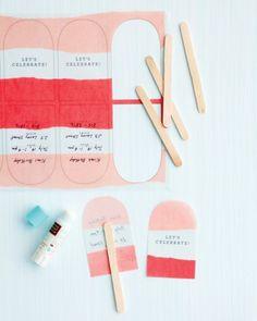 Martha Stuart's DIY no-melt pop invitations